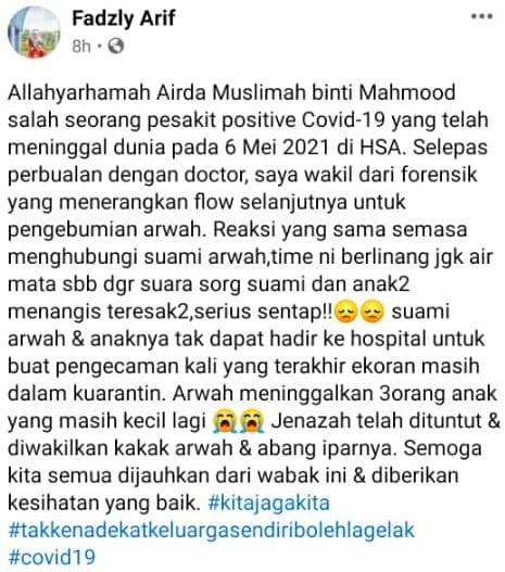 Viral Isteri Ajal Akibat Covid-19, Ahli Forensik Dedah Moment Sebak Call Suami 4